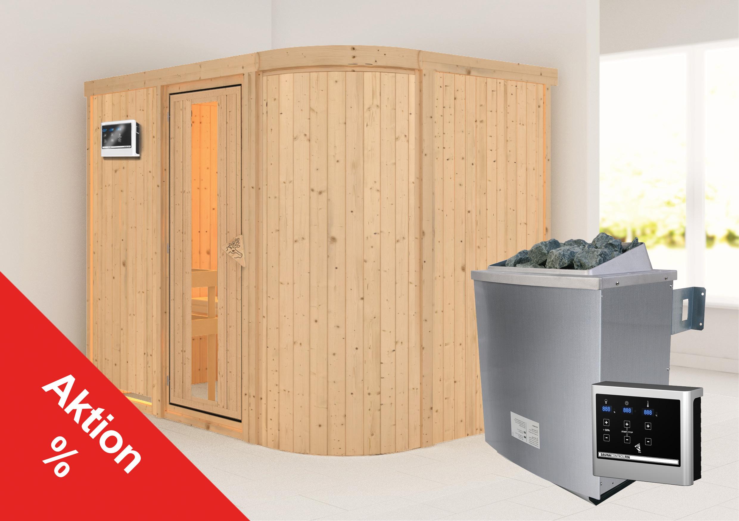 Karibu Sauna Sitania 68mm Saunaofen 9kW extern Tür Holz Aktion Bild 1