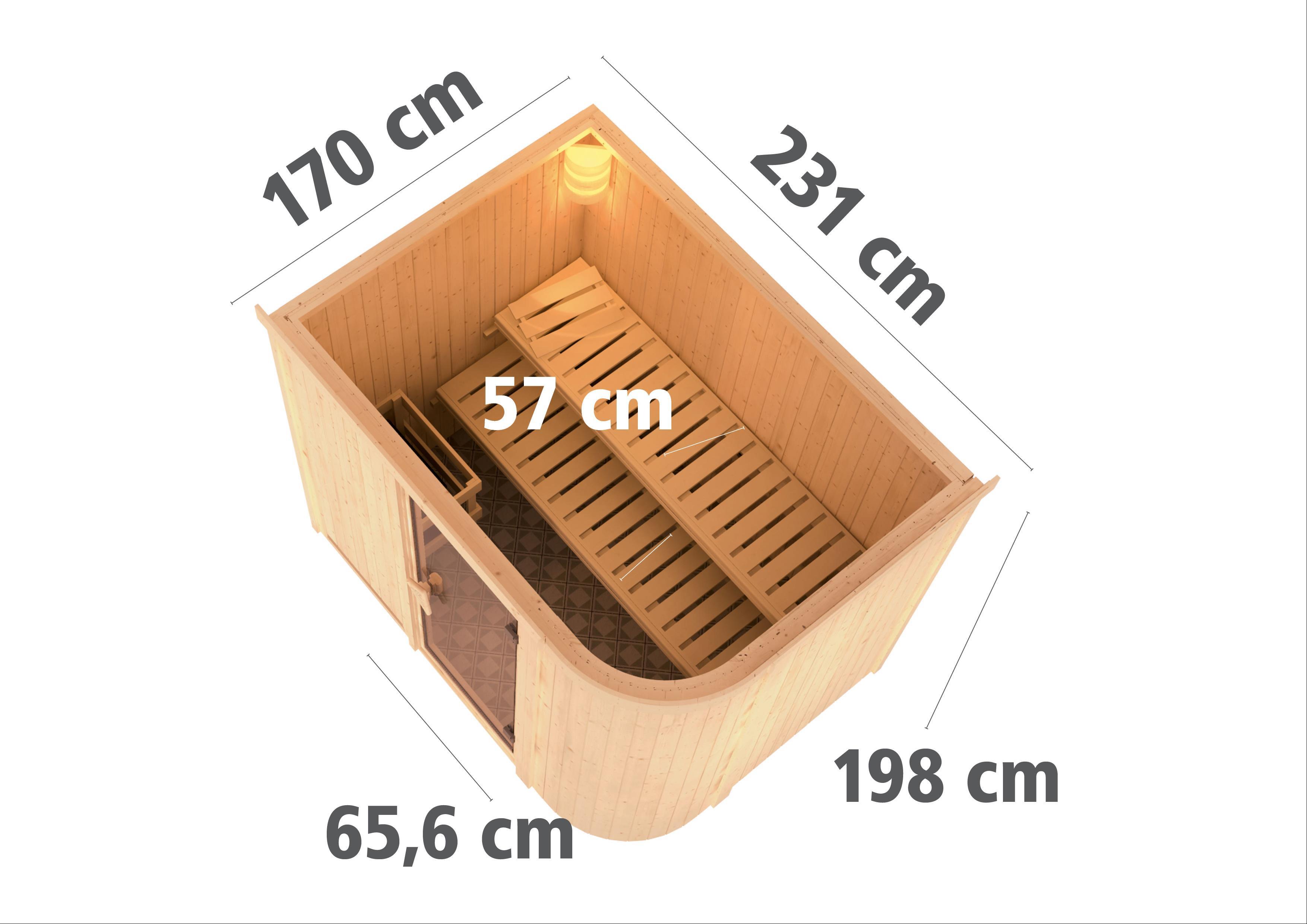 Karibu Sauna Sitania 68mm Saunaofen 9kW extern Tür Holz Aktion Bild 3