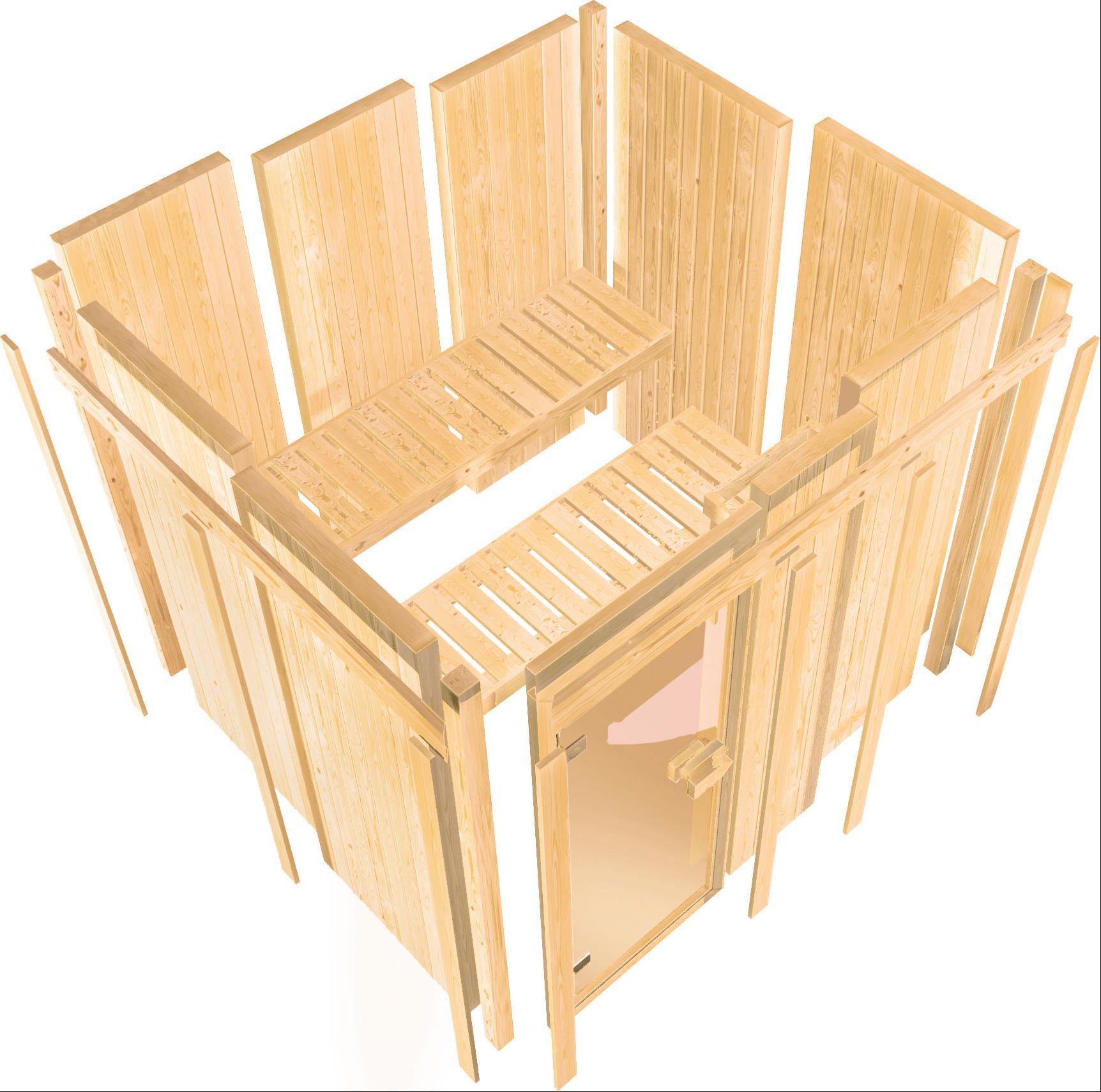 Karibu Sauna Sitania 68mm Saunaofen 9kW extern Tür Holz Aktion Bild 4