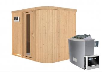 Karibu Sauna Sitania 68mm Saunaofen 9kW extern Tür Holz Aktion Bild 2