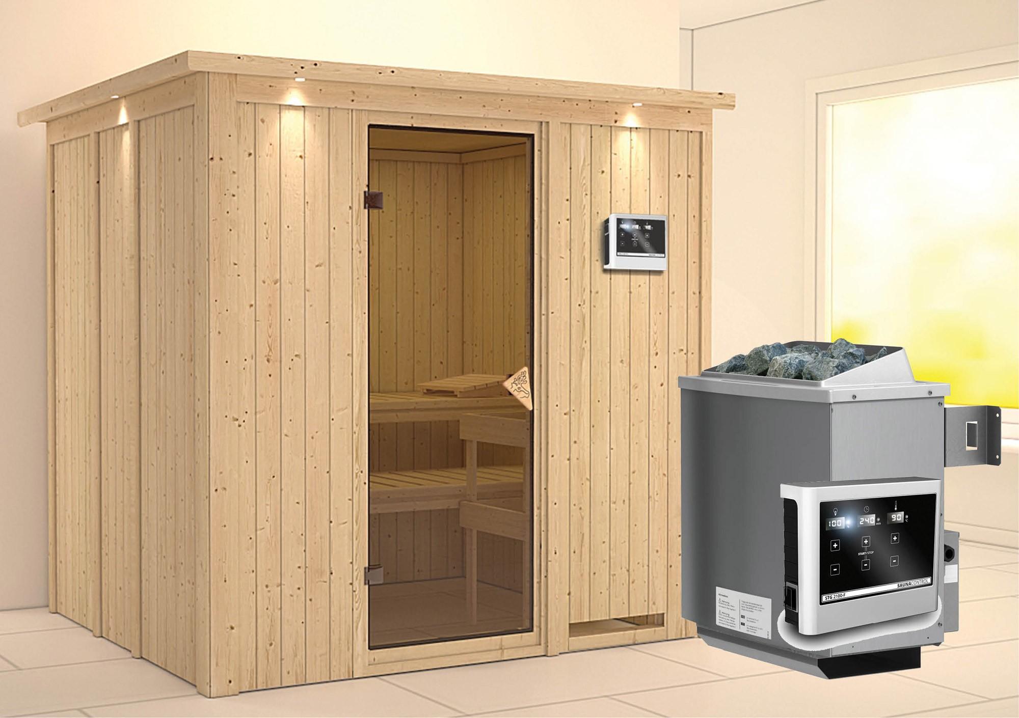 Karibu Sauna Sodin 68mm Dachkranz + Ofen 9kW extern classic Tür Bild 1
