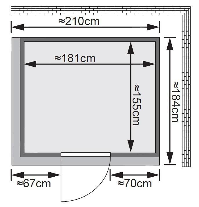 Karibu Sauna Sodin 68mm Dachkranz + Ofen 9kW extern classic Tür Bild 2