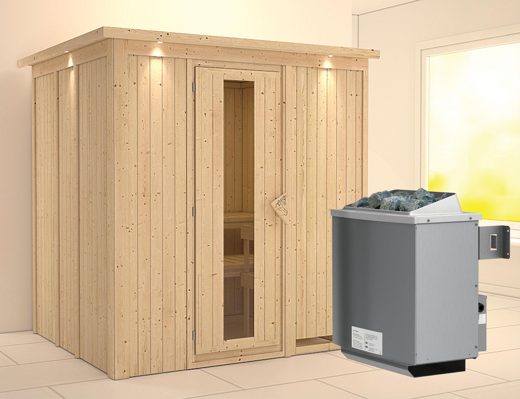 Karibu Sauna Sodin 68mm Dachkranz + Ofen 9kW intern Holztür Bild 1