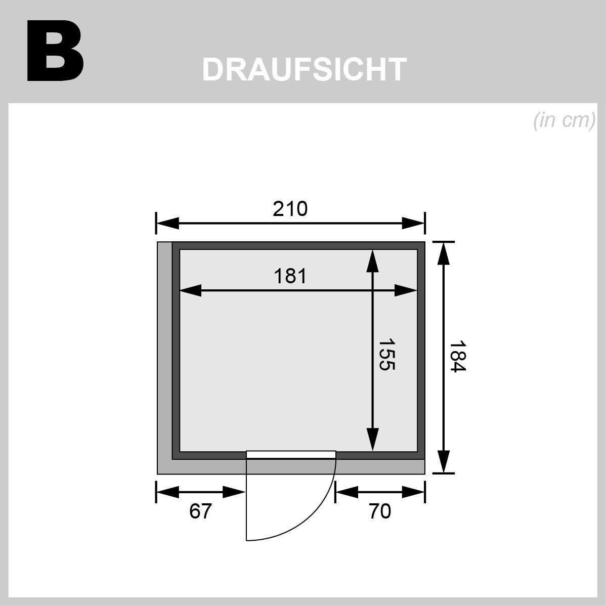 Karibu Sauna Sodin 68mm Dachkranz + Ofen 9kW intern Holztür Bild 2