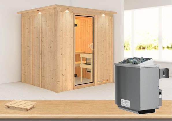 Karibu Sauna Sodin 68mm Dachkranz + Ofen 9kW intern classic Tür Bild 1