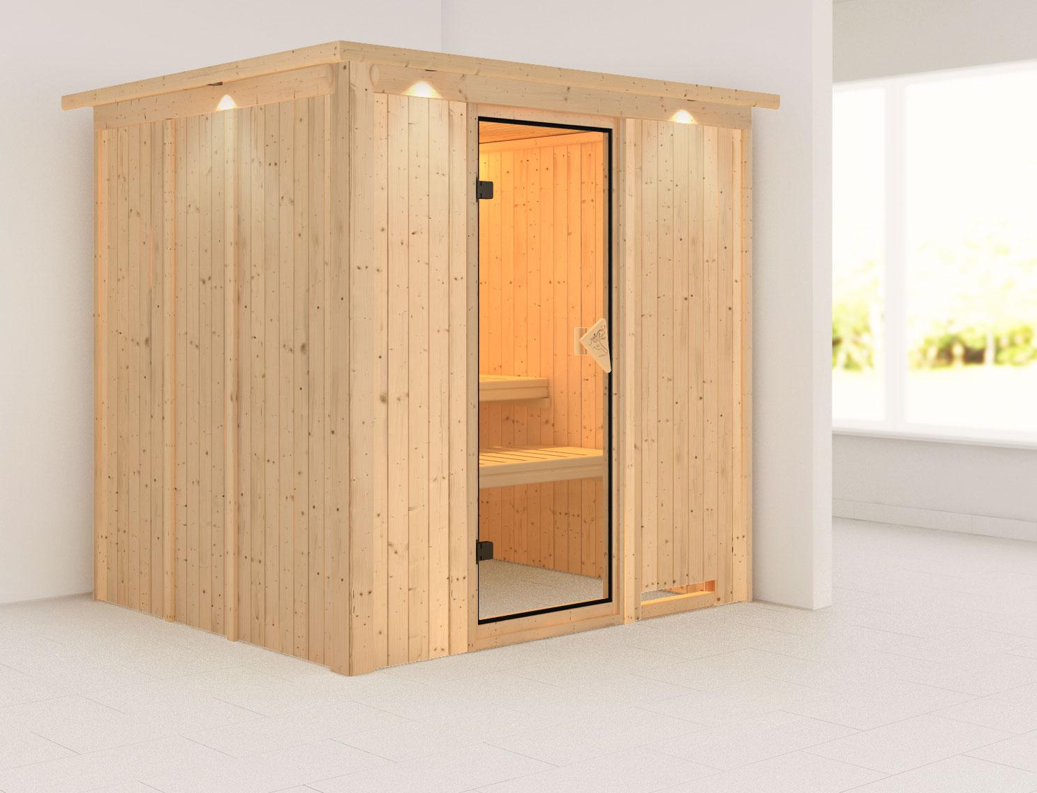 Karibu Sauna Sodin 68mm Dachkranz ohne Ofen classic Tür Bild 1