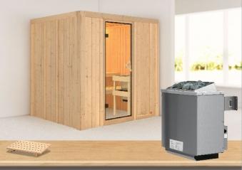 Karibu Sauna Sodin 68mm Ofen 9kW intern classic Tür Bild 1