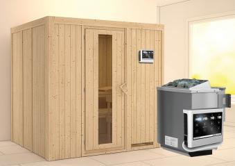 Karibu Sauna Sodin 68mm mit Bio Ofen 9kW extern Holztür Bild 1