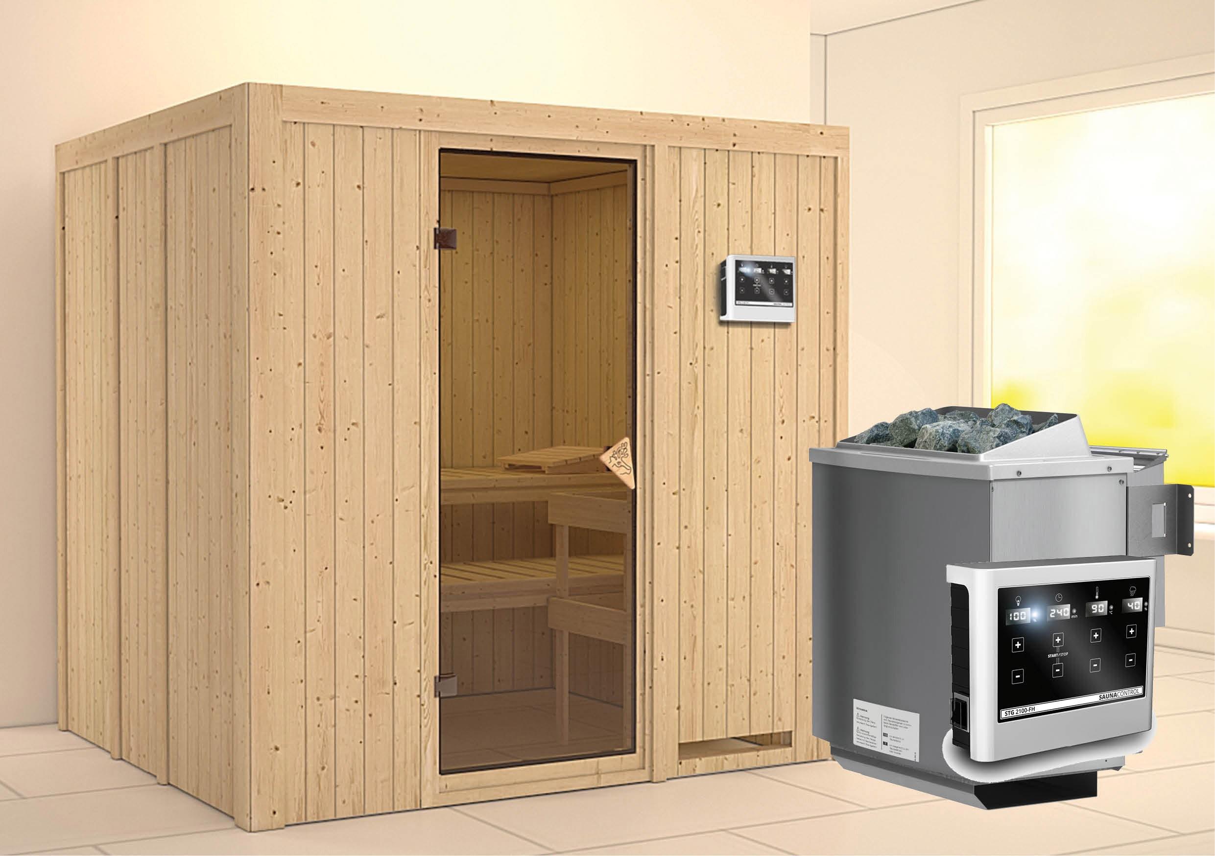 Karibu Sauna Sodin 68mm mit Bio Ofen 9kW extern classic Tür Bild 1