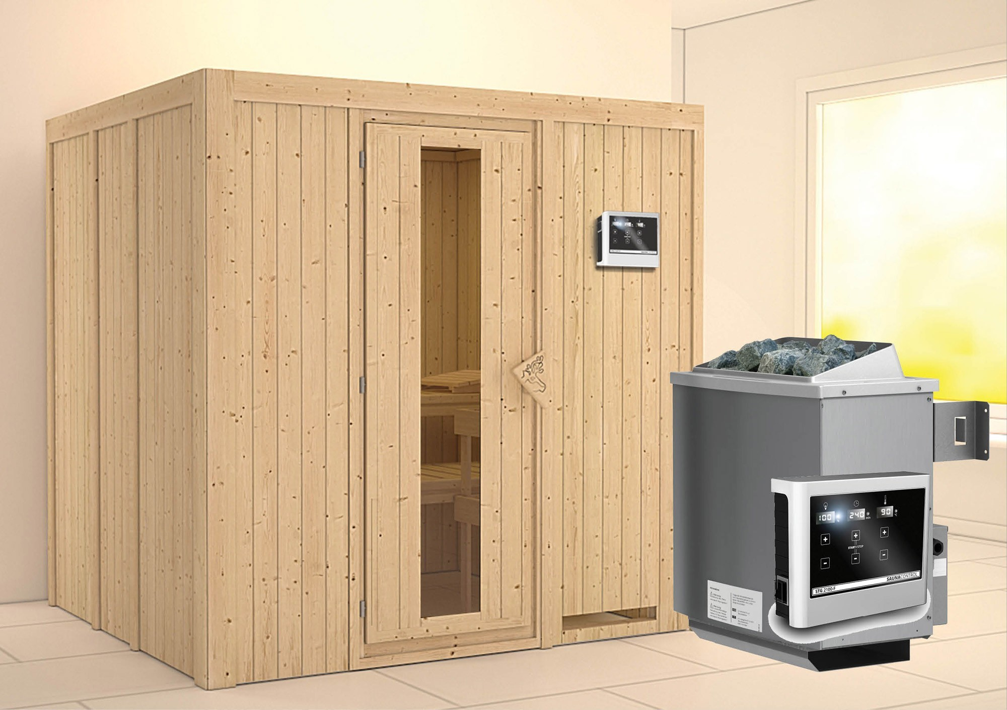 Karibu Sauna Sodin 68mm mit Ofen 9kW extern Holztür Bild 1