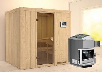 Karibu Sauna Sodin 68mm mit Ofen 9kW extern classic Tür Bild 1