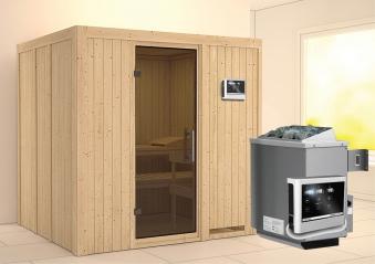 Karibu Sauna Sodin 68mm mit Ofen 9kW extern moderne Tür Bild 1