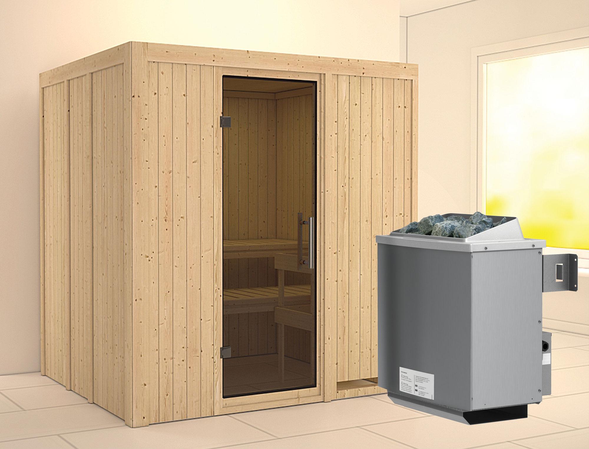 Karibu Sauna Sodin 68mm mit Ofen 9kW intern moderne Tür Bild 1