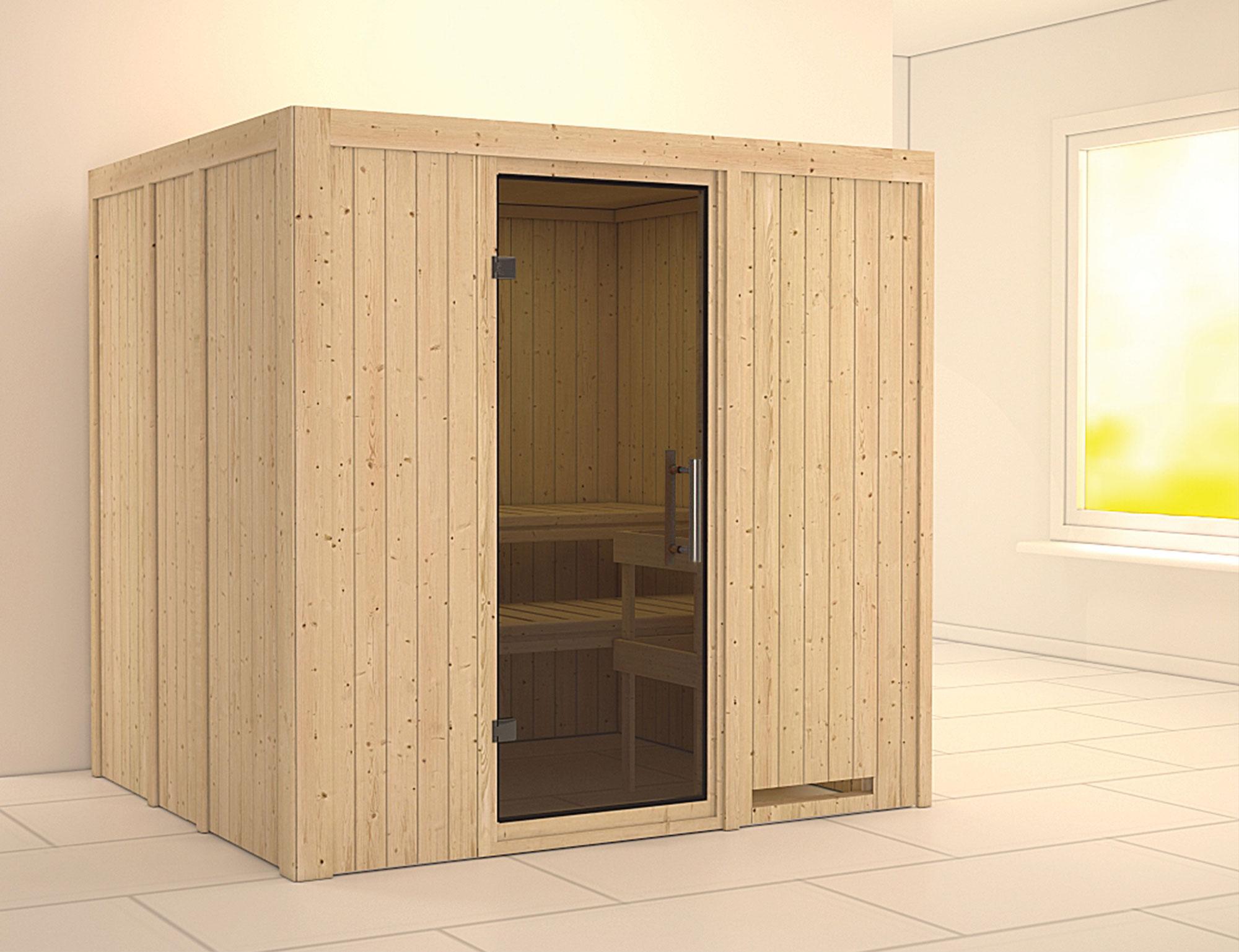 Karibu Sauna Sodin 68mm ohne Ofen moderne Tür Bild 1