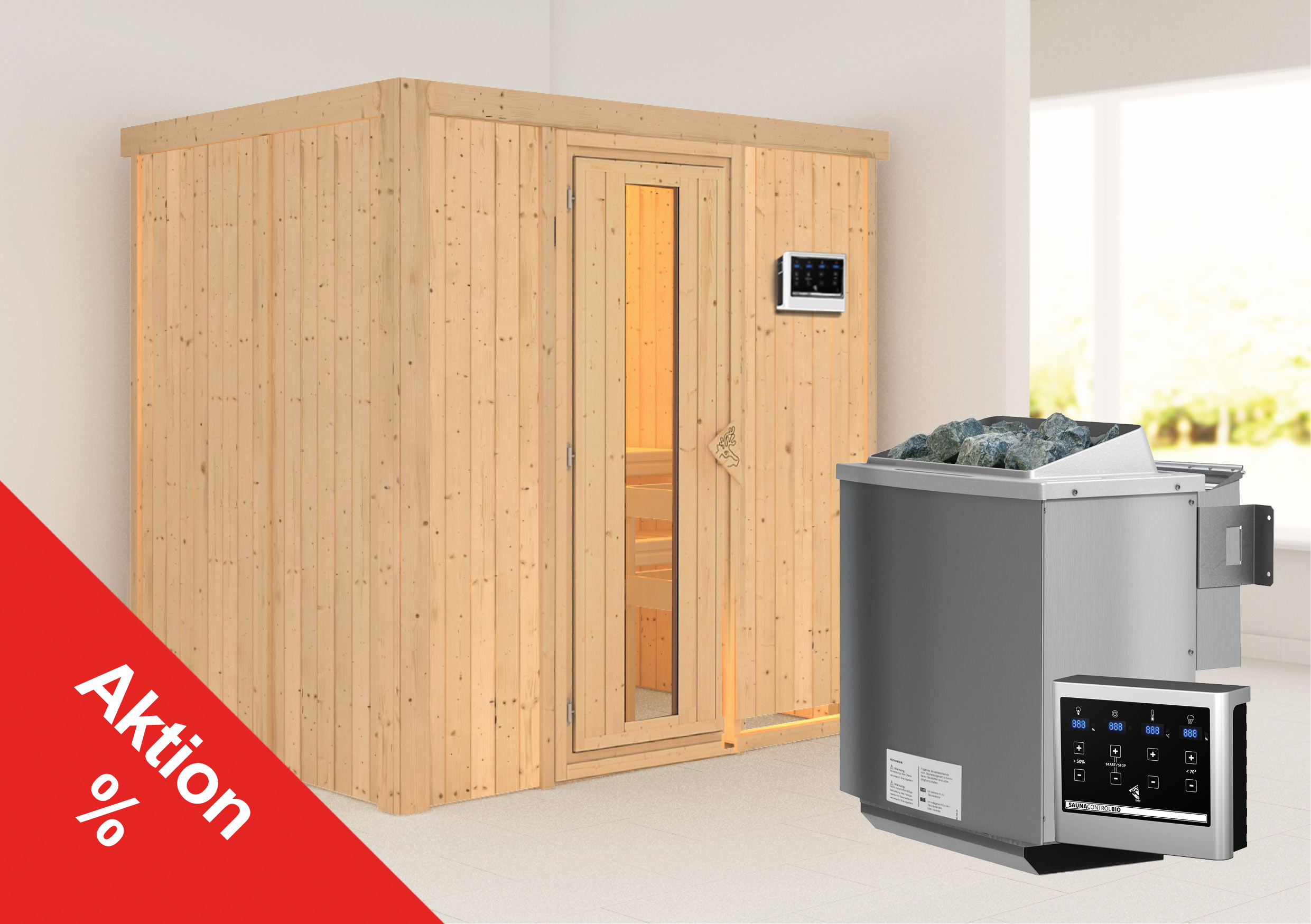 Karibu Sauna Sodina 68mm mit Bio Saunaofen 9kW extern Holztür Aktion Bild 1