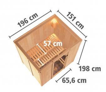 Karibu Sauna Sodina 68mm mit Bio Saunaofen 9kW extern Holztür Aktion Bild 6