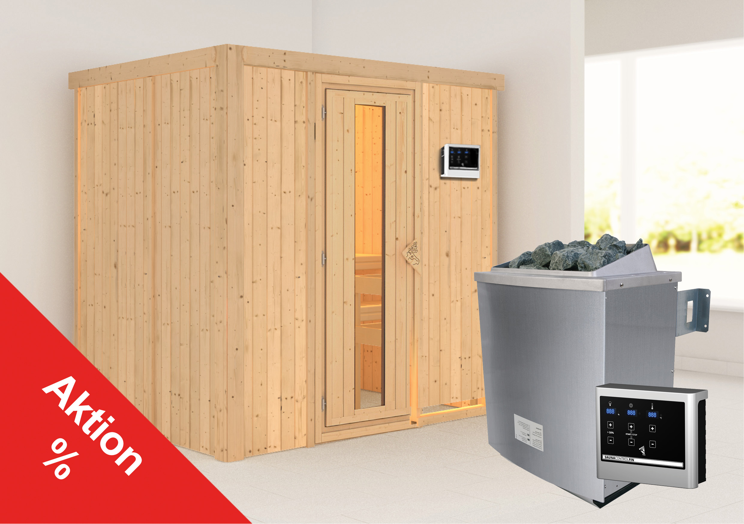Karibu Sauna Sodina 68mm mit Saunaofen 9kW extern Holztür Aktion Bild 1