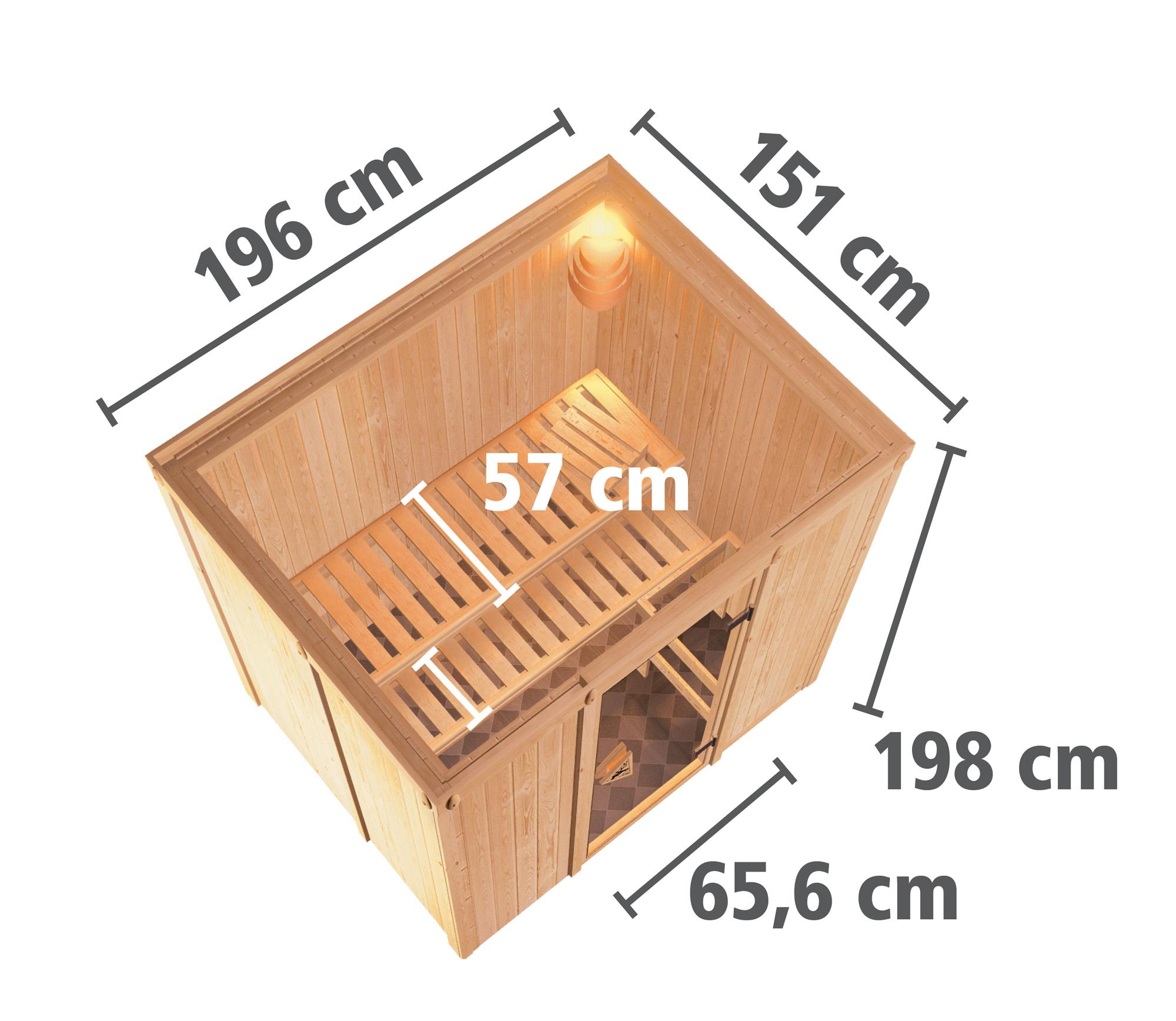 Karibu Sauna Sodina 68mm mit Saunaofen 9kW extern Holztür Aktion Bild 6