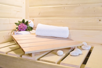 Karibu Sauna Sodina 68mm mit Saunaofen 9kW extern Holztür Aktion Bild 7