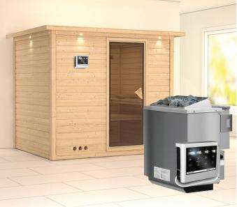 Karibu Sauna Sonara 40mm Dachkranz + Bio Ofen 9kW extern classic Tür Bild 1