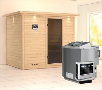 Karibu Sauna Sonara 40mm Dachkranz + Bio Ofen 9kW extern moderne Tür Bild 1