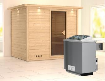 Karibu Sauna Sonara 40mm Dachkranz + Ofen 9kW intern classic Tür Bild 1