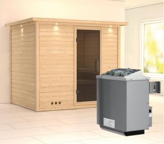 Karibu Sauna Sonara 40mm Dachkranz + Ofen 9kW intern moderne Tür Bild 1