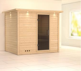 Karibu Sauna Sonara 40mm Dachkranz ohne Ofen moderne Tür Bild 1
