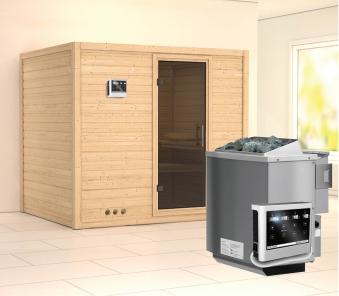 Karibu Sauna Sonara 40mm mit Bio Ofen 9kW extern moderne Tür Bild 1