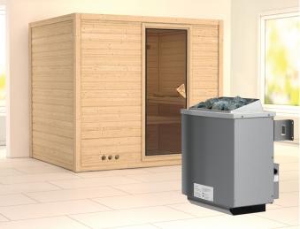 Karibu Sauna Sonara 40mm mit Ofen 9kW intern classic Tür Bild 1