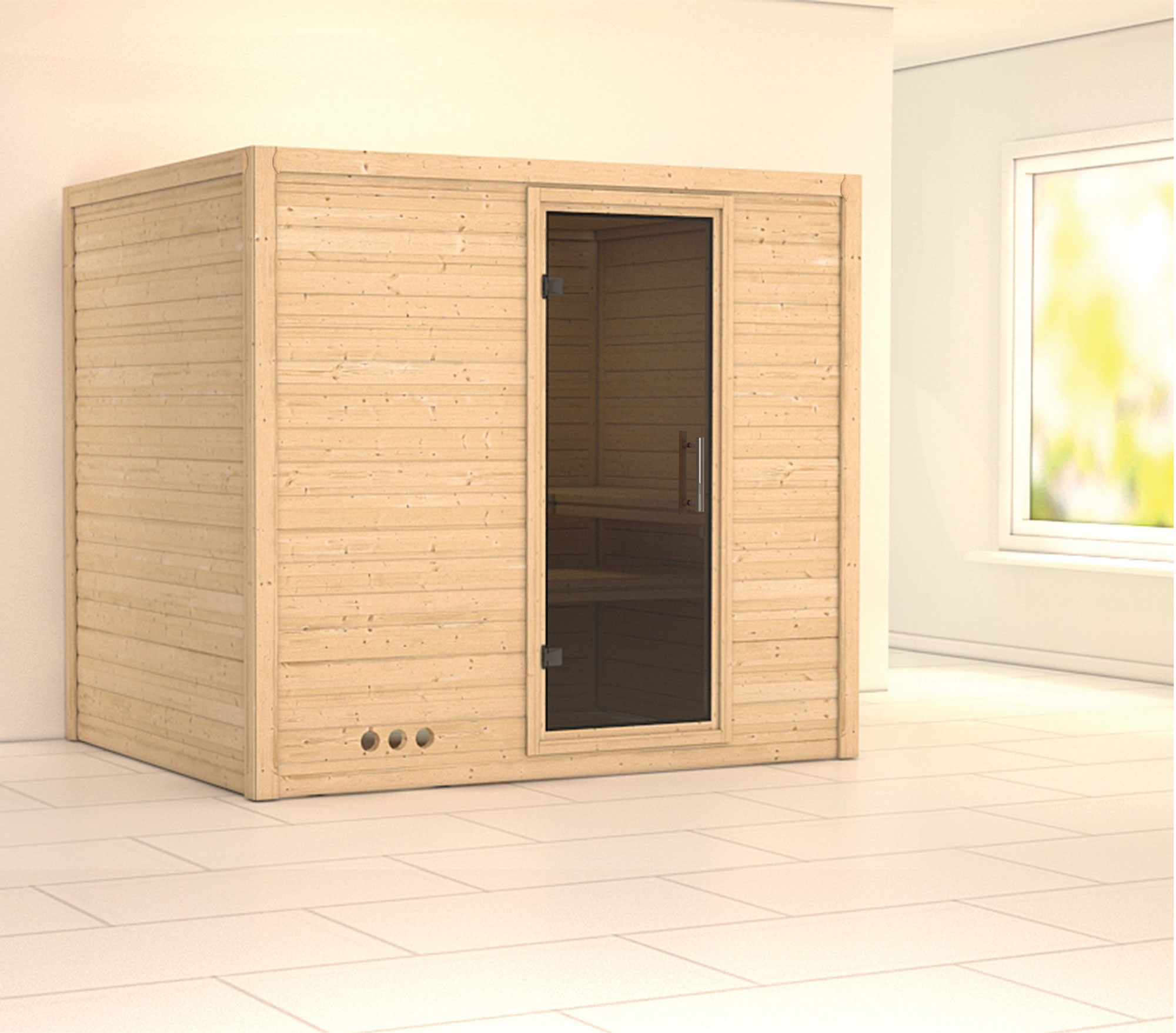 Karibu Sauna Sonara 40mm ohne Ofen moderne Tür Bild 1