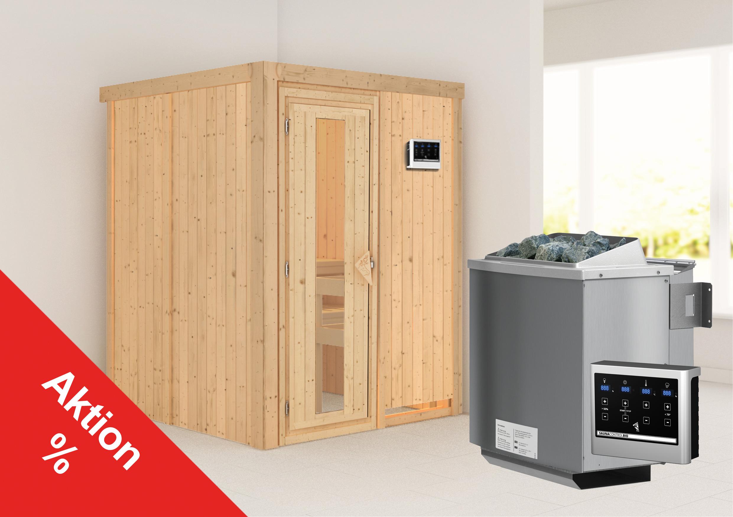 Karibu Sauna Sorina 68mm mit Bio Saunaofen 9kW extern Holztür Aktion Bild 1