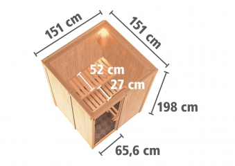 Karibu Sauna Sorina 68mm mit Bio Saunaofen 9kW extern Holztür Aktion Bild 6