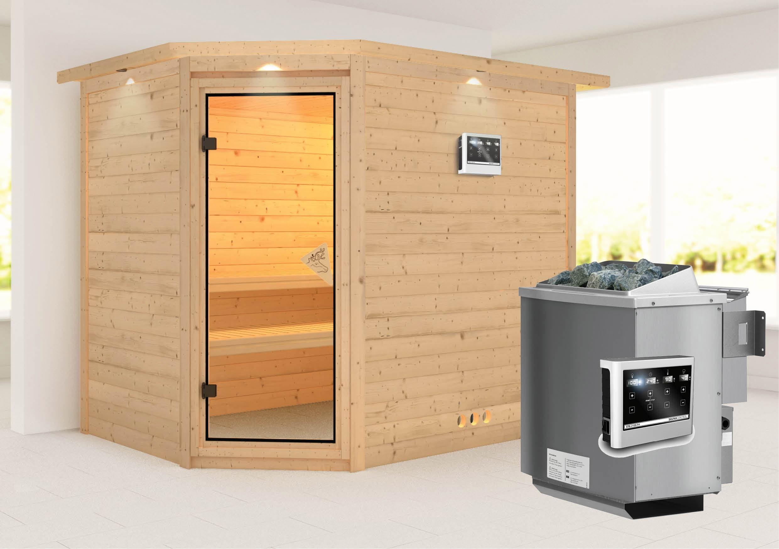 Karibu Sauna Tanami 40mm Dachkranz + Bio Ofen 9kW extern classic Tür Bild 1