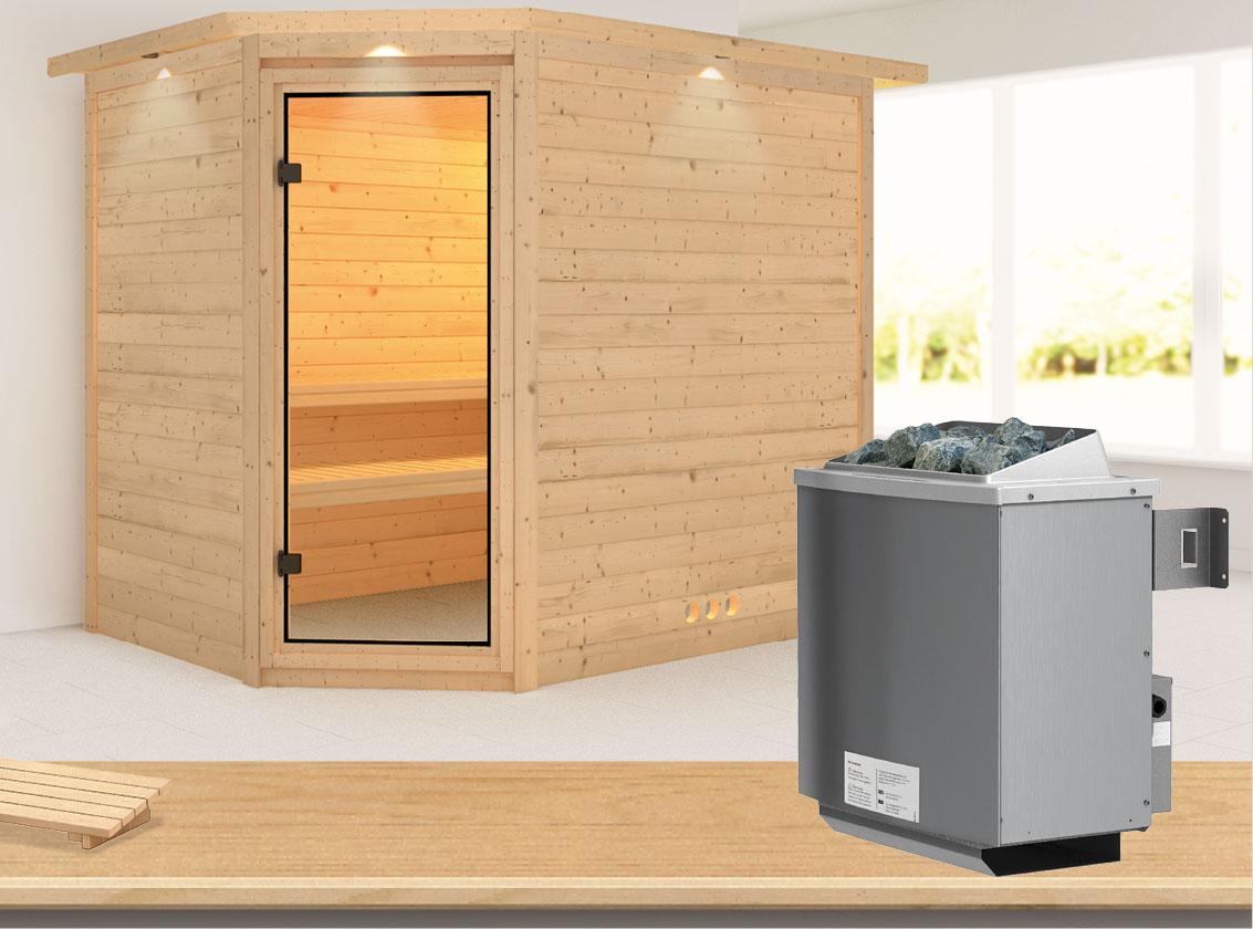 Karibu Sauna Tanami 40mm Dachkranz + Ofen 9kW intern classic Tür Bild 1
