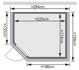 Karibu Sauna Tanami 40mm Dachkranz + Ofen 9kW intern classic Tür Bild 2