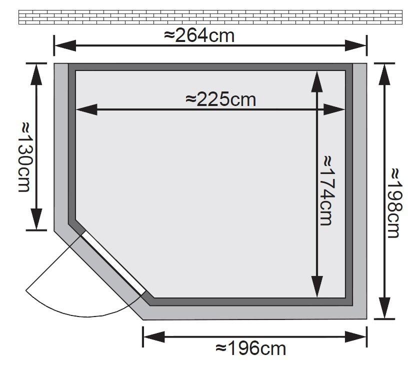 Karibu Sauna Tanami 40mm Dachkranz ohne Ofen classic Tür Bild 2