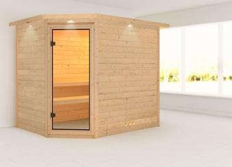 Karibu Sauna Tanami 40mm Dachkranz ohne Ofen classic Tür Bild 1