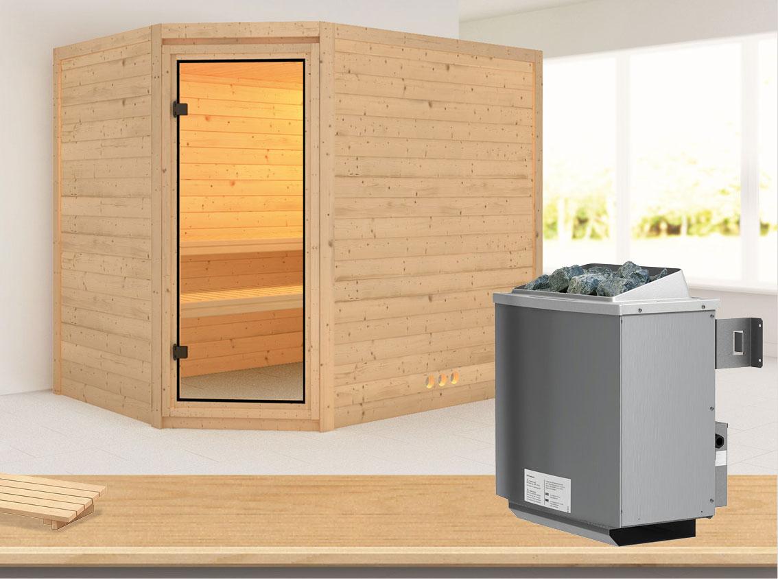 Karibu Sauna Tanami 40mm mit Ofen 9kW intern classic Tür Bild 1