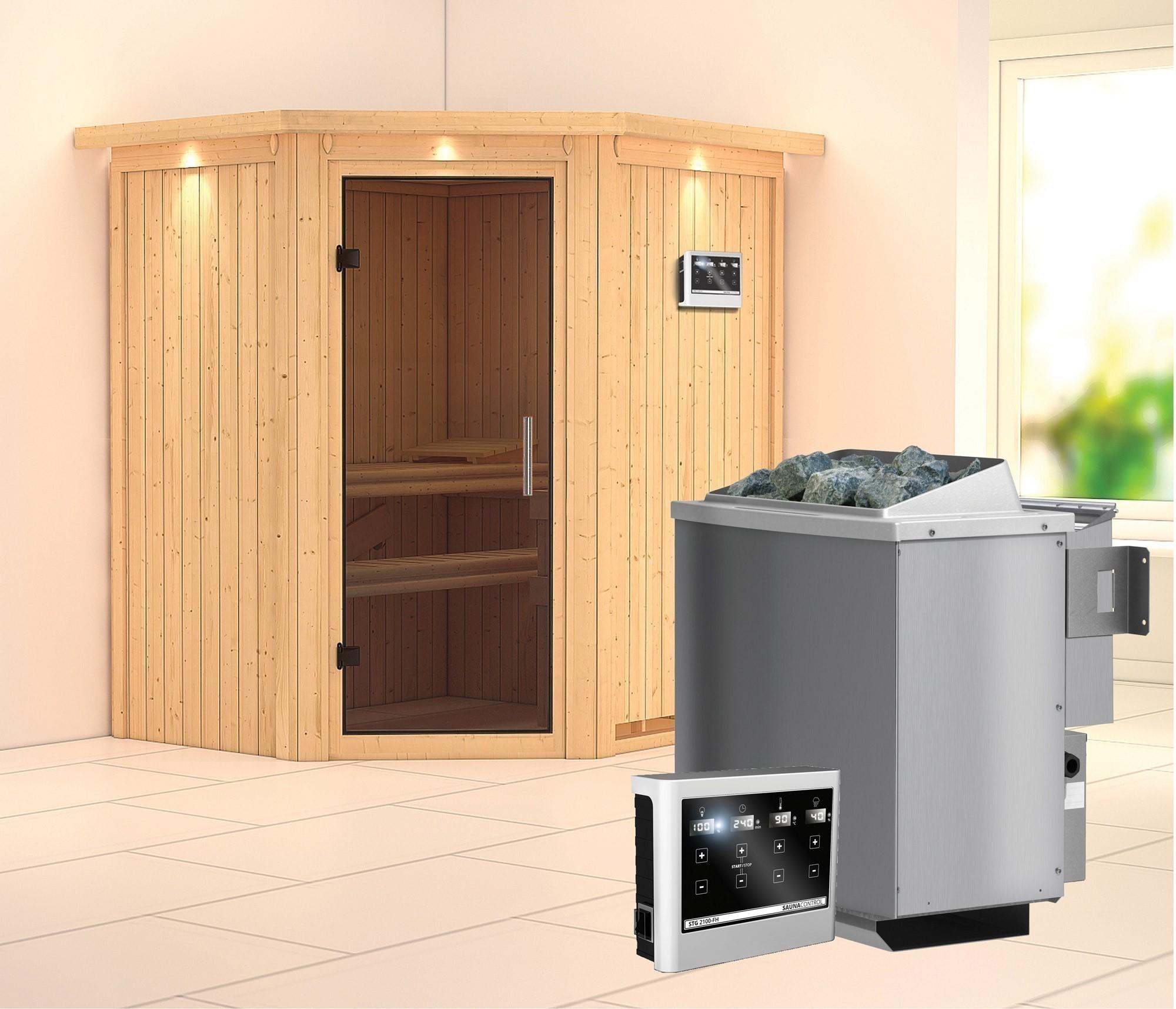 Karibu Sauna Taurin 68mm Dachkranz Bio Saunaofen 9kW ext. moderne Tür Bild 1