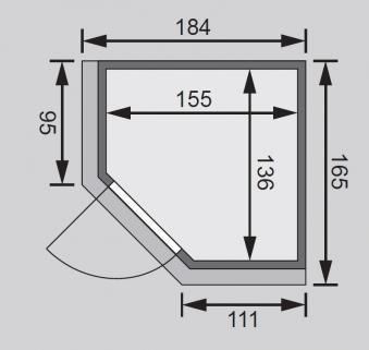 Karibu Sauna Taurin 68mm Dachkranz Bio Saunaofen 9kW ext. moderne Tür Bild 2