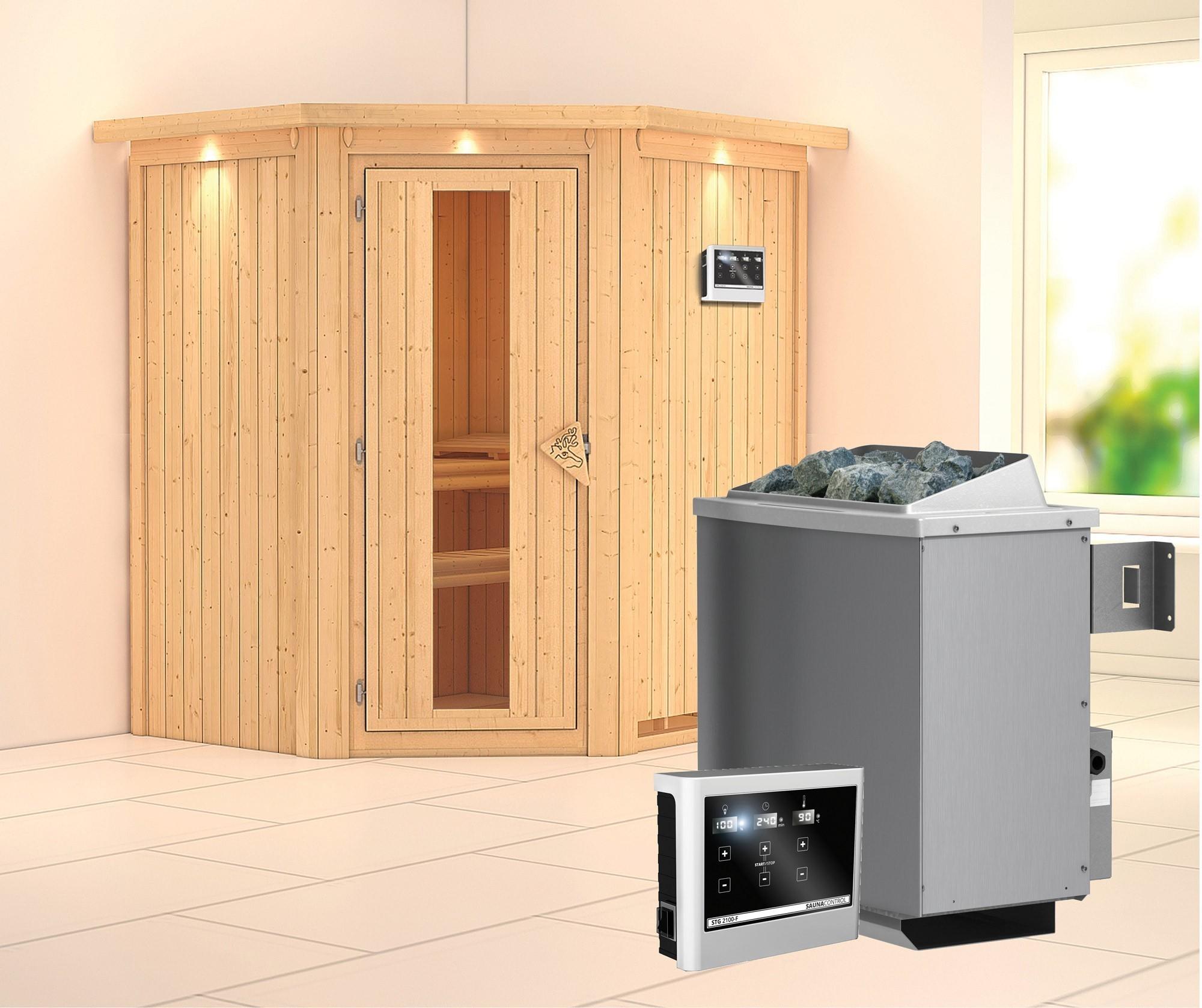 Karibu Sauna Taurin 68mm Dachkranz Saunaofen 9kW extern Holztür Bild 1