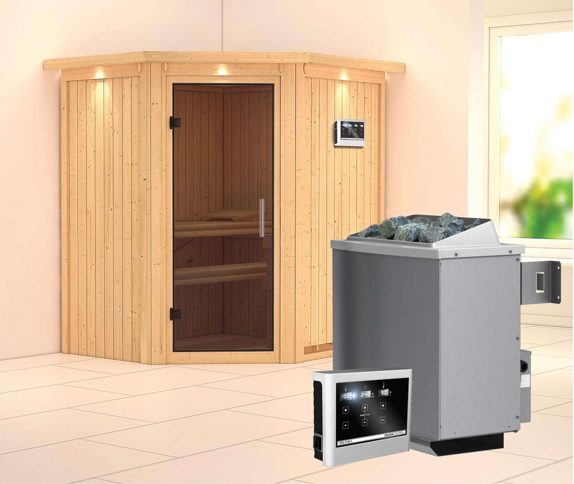 Karibu Sauna Taurin 68mm Dachkranz Saunaofen 9kW extern moderne Tür Bild 1