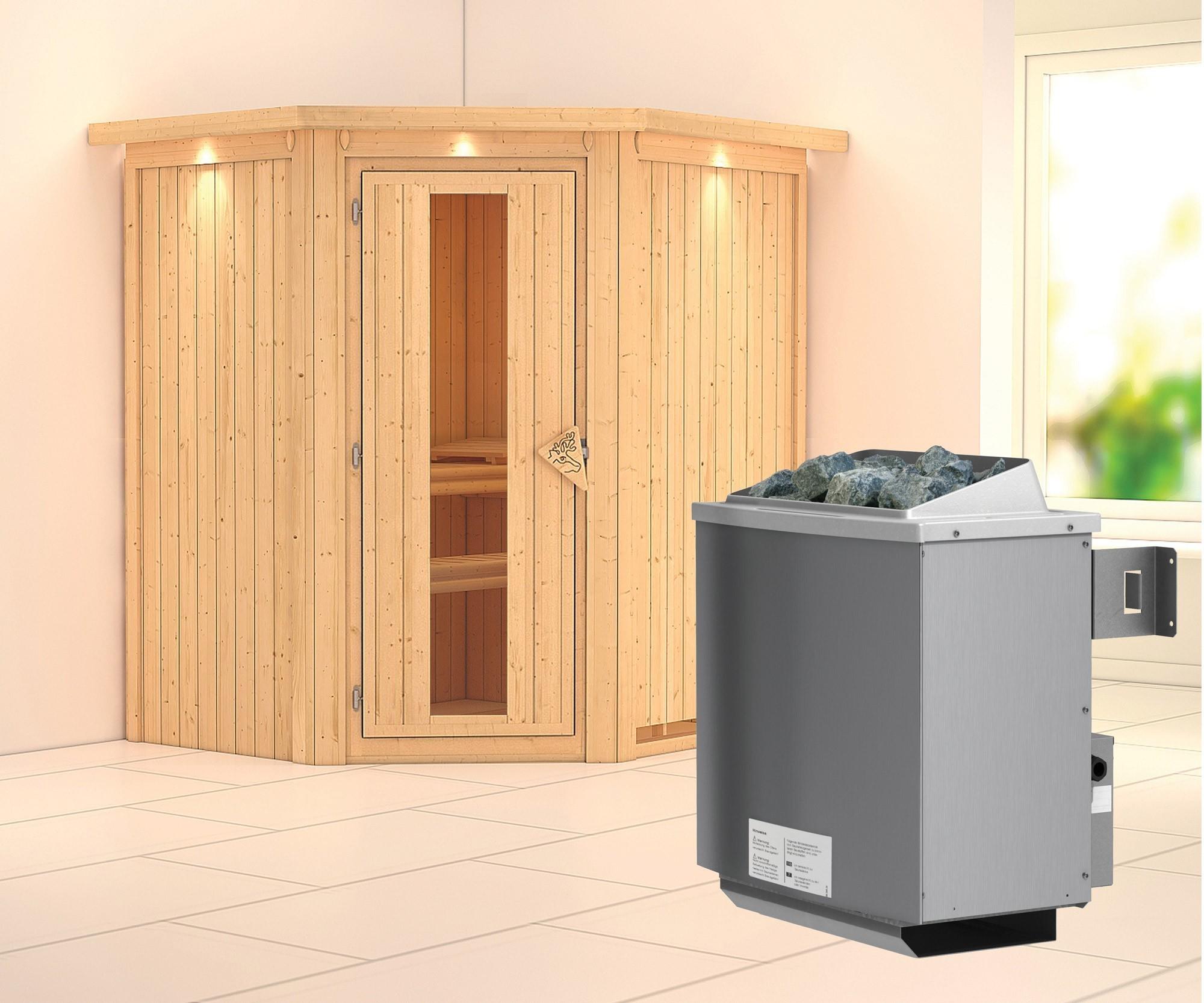 Karibu Sauna Taurin 68mm Dachkranz Saunaofen 9kW intern Holztür Bild 1