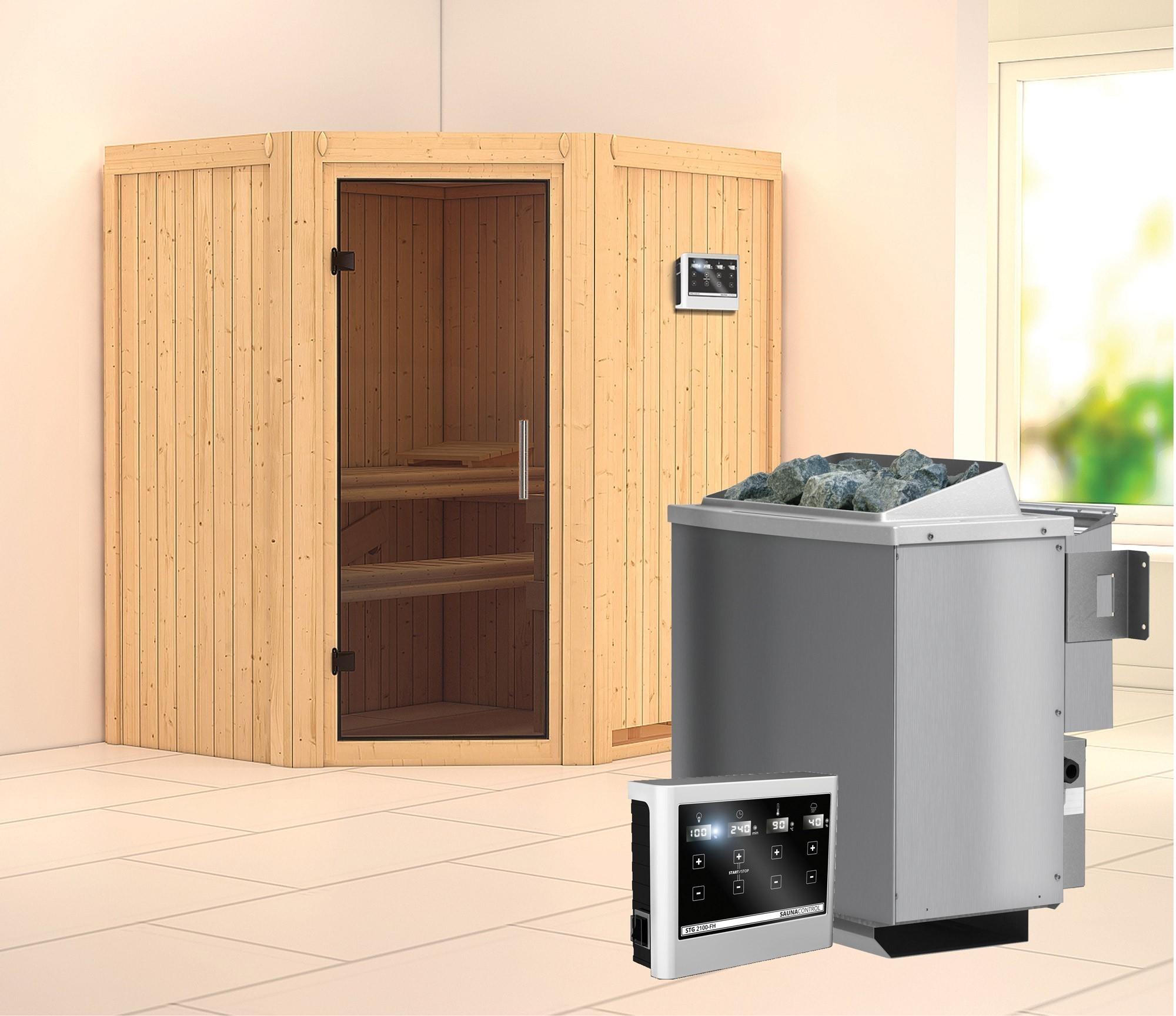 Karibu Sauna Taurin 68mm mit Bio Saunaofen 9kW extern moderne Tür Bild 1