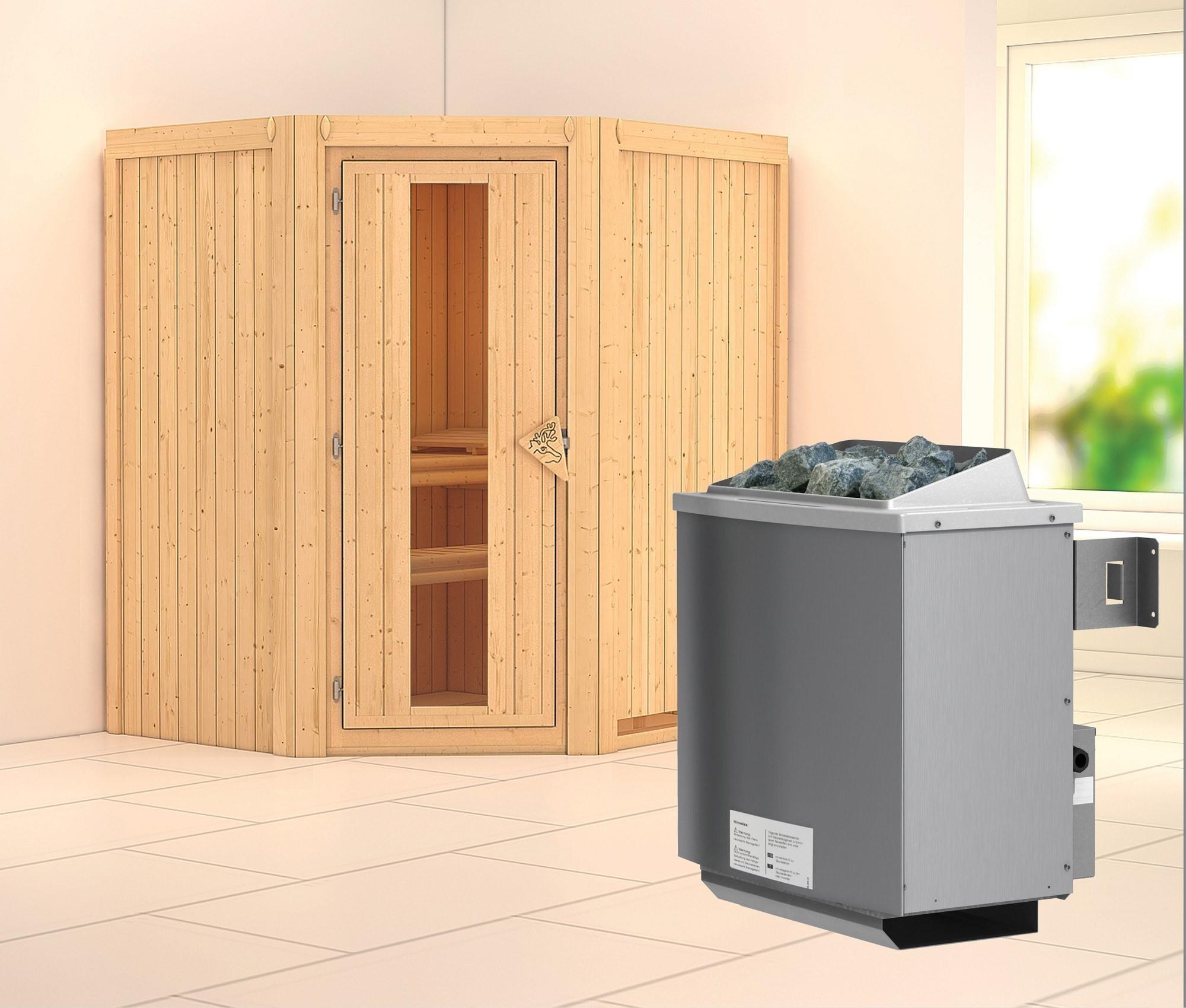 Karibu Sauna Taurin 68mm mit Saunaofen 9kW intern Holztür Bild 1