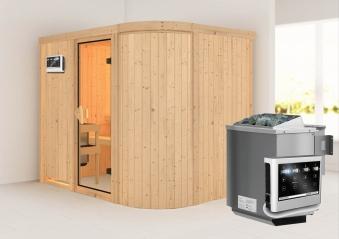 Karibu Sauna Titania 4 68mm mit Bio Ofen 9kW classic Tür Bild 1