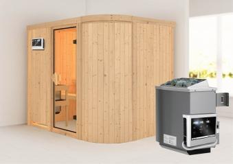Karibu Sauna Titania 4 68mm mit Ofen 9kW extern classic Tür Bild 1