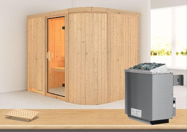 Karibu Sauna Titania 4 68mm mit Ofen 9kW intern classic Tür Bild 1