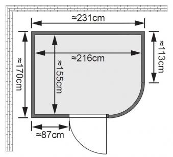 Karibu Sauna Titania 4 68mm mit Ofen 9kW intern classic Tür Bild 2
